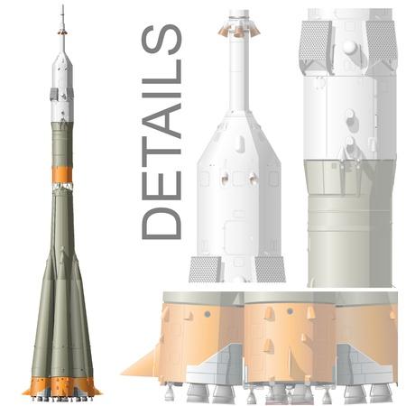 aeronautical: Vector hi-detailed space rocket Soyuz Illustration