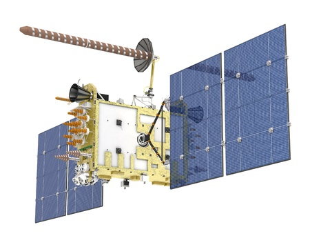 sattelite: Modern navigation satellite isolated