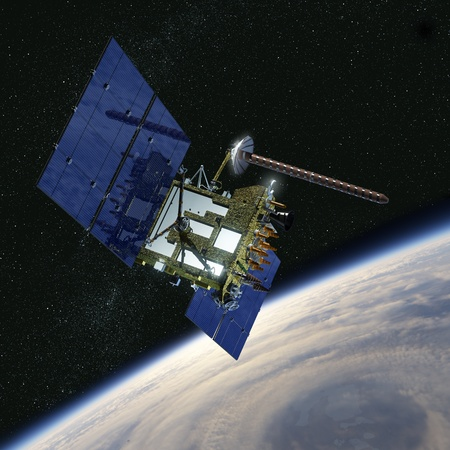 orbit: Modern navigation satellite  Stock Photo