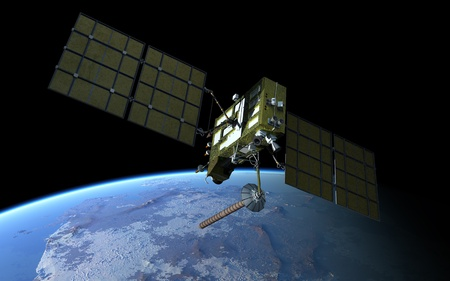 orbital spacecraft: Navigation satellite Stock Photo