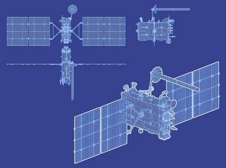 global navigation system: hi-detailed glonass satellite