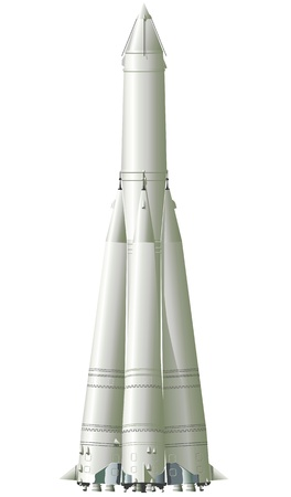 nave espacial: first space rocket with first satellite Ilustra��o