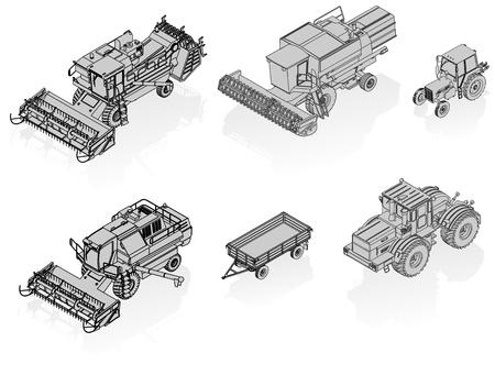 cosechadora: conjunto de veh�culos agr�colas de vectores Vectores