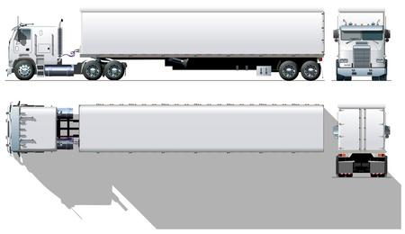 remolque: Semi-truck comercial de vector hi-detallado Vectores
