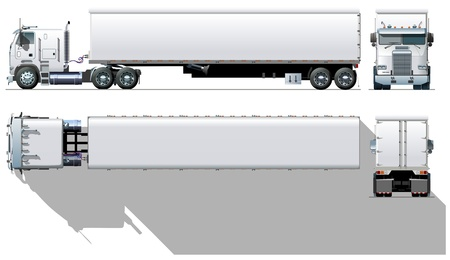 rear wheel: Vector hi-detailed commercial semi-truck