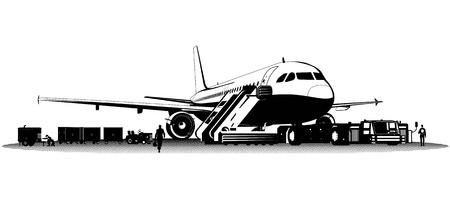 airline: Vector airplane on aerodrome