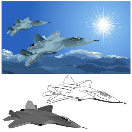 modern fighter: Moderna caccia stealth Vector