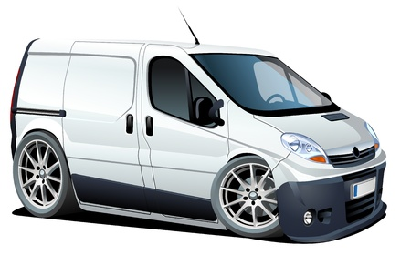 cartoon delivery   cargo van Vector