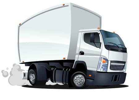만화 배달화물 트럭 일러스트
