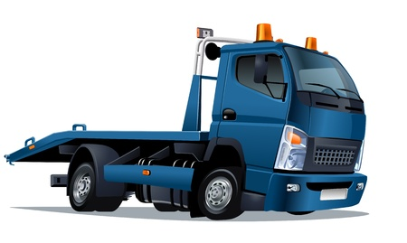 vector cartoon: Vector cartoon tow truck Vettoriali