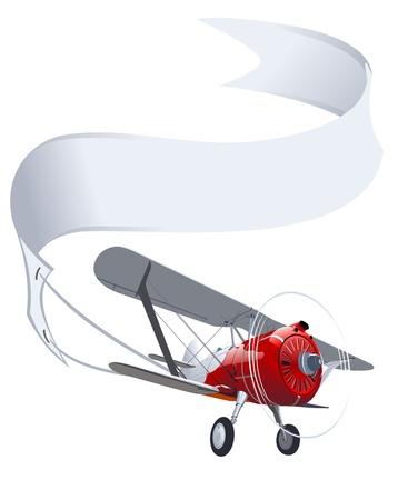 バナーとベクトルのレトロな飛行機  イラスト・ベクター素材