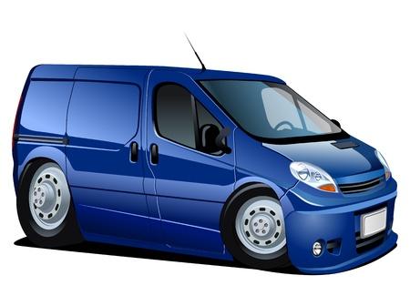 mini car: Vector cartoon delivery   cargo van