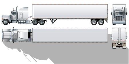 Vector hallo-detaillierte kommerzielle semi-LKW