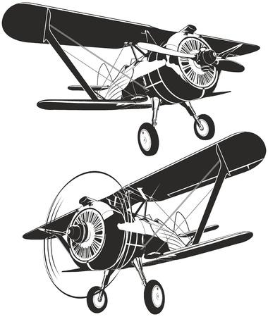 avion de chasse: Biplan r�tro de vecteur