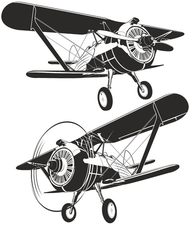 armed force: Vector retro biplane