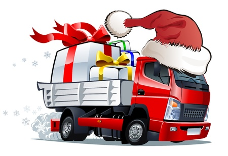 Vector cartoon Christmas truck Stock Vector - 10663991