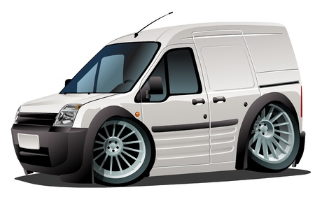 street rod: Vector cartoon delivery van Illustration