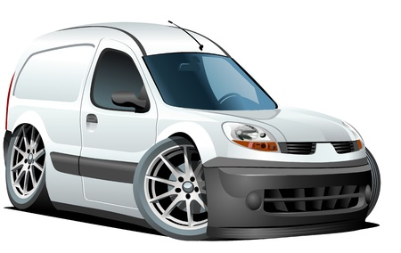 alloy wheel: Vector cartoon delivery van Illustration