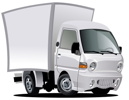 white truck: cartoon delivery  cargo truck Illustration