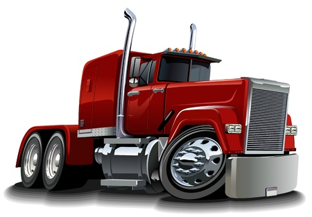 white truck: Vector cartoon semi truck
