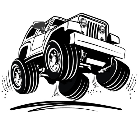 cartoon 4 wheel drive Vector