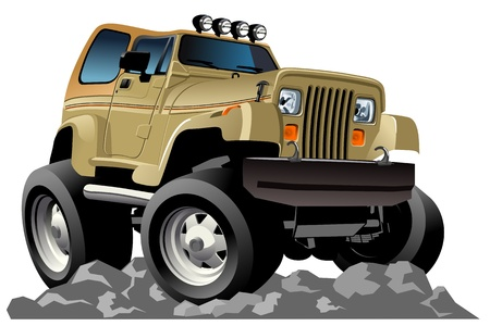 off road: Vector cartoon jeep Illustration