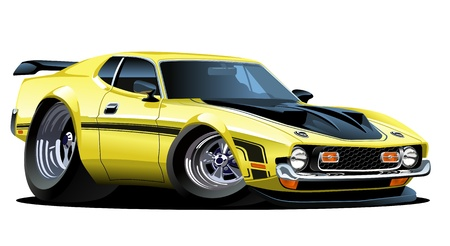 vector cartoon: Vector cartoon muscle car
