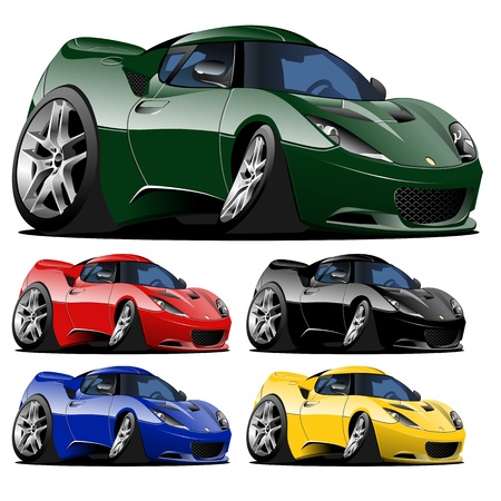 luxury cars: vector cartoon car one click repaint Illustration