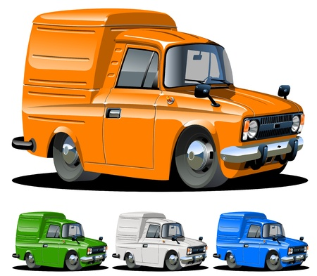 mini: Vector cartoon van on click repaint Illustration