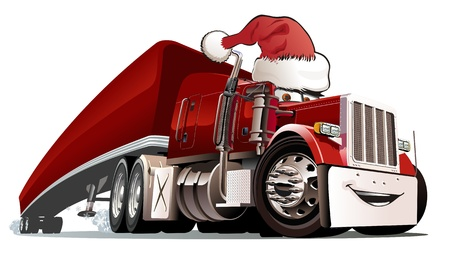 white truck: Vector cartoon Christmas truck