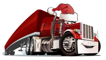 semi truck: Vector de dibujos animados de Navidad de camiones