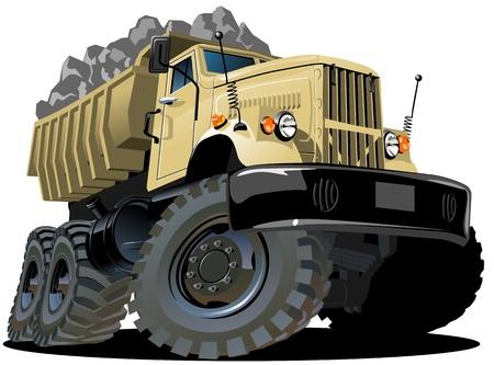 둥근 돌: 벡터 만화 덤프 트럭