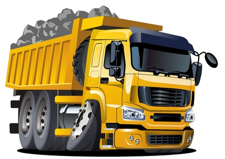 Camion à benne Vecteur de dessin animé Vecteurs