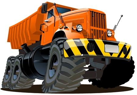 둥근 돌: 벡터 만화 덤프 트럭 6X6 일러스트