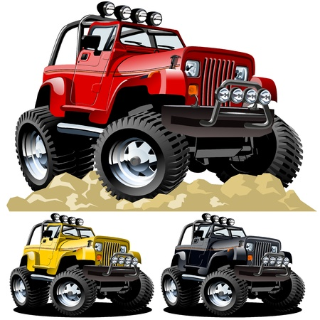 hot rod: Vector cartoon jeep one-click repaint Illustration
