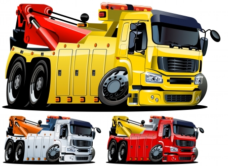 camion grua: Vector de camión de dibujos animados de remolque. Con un solo clic pintar