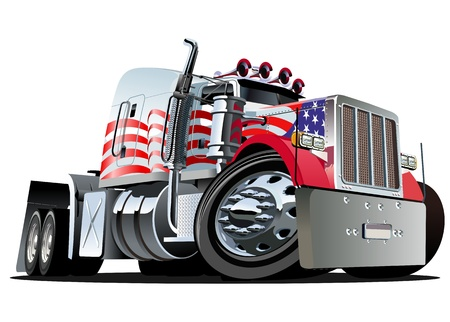 white truck:  Vector cartoon semi truck Illustration