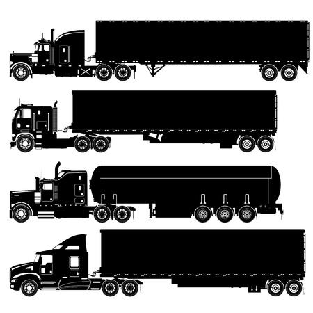 mode of transportation: Camion vettoriali dettagliate silhouette impostato