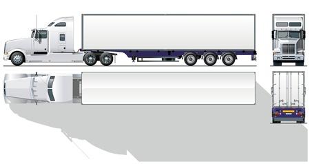 teherautók: hi-részletes kereskedelmi semi-truck