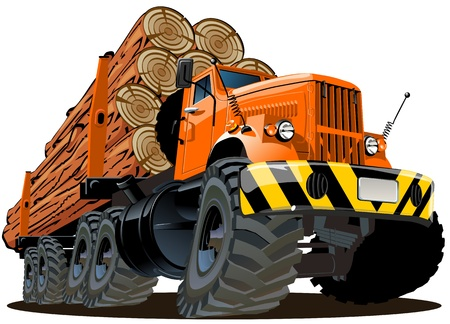 cartoon logging truck Stock Vector - 12034173