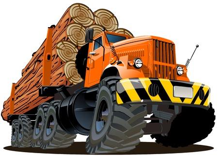 semi truck: dibujos animados de registro de camiones Vectores