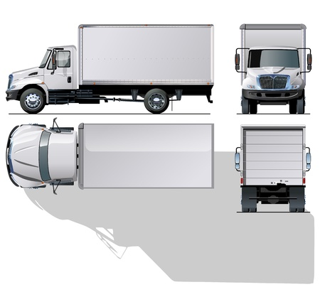 white truck: hi-detailed delivery   cargo truck