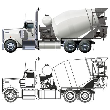 cisterna: Vector camión mezclador de concreto Vectores