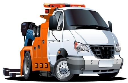 crane truck: Vector cartoon tow truck Illustration