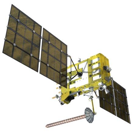 orbital spacecraft: Modern navigation satellite isolated on white Stock Photo