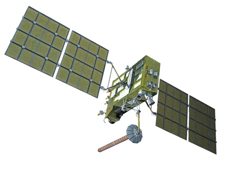 satellite in space: Modern navigation satellite glonass isolated on white