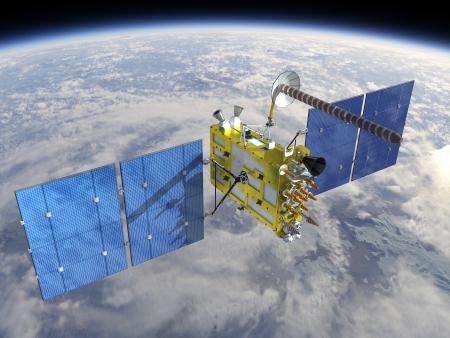 gps navigation: Modern navigation satellite glonass-k at the orbit