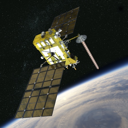 orbital spacecraft: Modern navigation satellite glonass-k Stock Photo