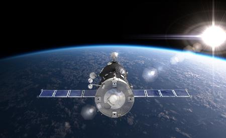 soyuz: Spaceship at the Earth orbit Stock Photo