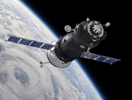 space area: Spaceship Soyuz TMA at the Earth orbit Stock Photo
